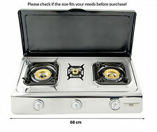 Gas Stove Cooker with Lid 3 Burners Portable Camping Outdoor LPG 8kW WOK NGB3C