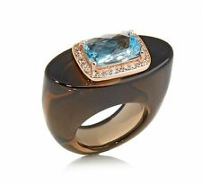 Rarities:Fine Jewelry with Carol Brodie Rose Vermeil Gemstone Hololith Ring Sz 6