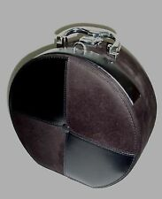 Women's Plush Black Round Make Up Case Bag Tote / Faux Leather & Suede SALE