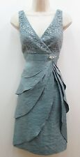 KM Collections Silver Blue Sleeveless Mother of Bride Lace Pleats Dress New 8