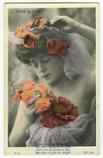 c 1907 Glamour BARE SHOULDER Young Lady French Glamor tinted photo postcard