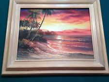 """W. Riley PAINTING 12 x16 """"SUNSET"""" SIGNED Reds and oranges with frame 18 x 22"""