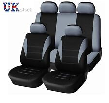 GREY BLACK LIGHT FABRIC FULL CAR SEAT COVERS SET FIT FOR NISSAN QASHQAI 2010