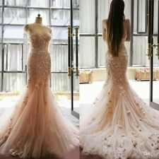 Fairy Tale Blush Mermaid Wedding Dresses Applique Flowers Sweetheart Bridal Gown
