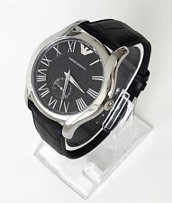 Original Armani Herren Uhr schwarz silber römisch Leder AR1703 Neu OVP