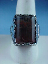 Vintage Antique PETRIFIED WOOD Agate Silver Size 10.5 Mans RING Mexico No Navajo