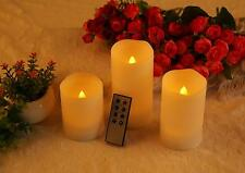"Ohuhu 3 LED Flameless Candles with Remote Control & Timer 4"" 5"" 6"" Yellow  Light"