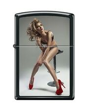 Zippo Lighter: Red Shoe Girl Series IV #7 Black Matte *Sexy Pin up Girl*