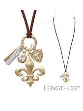 Long Two Tone Religious Cross Fleur De Lis Necklace