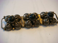 """Vintage Sterling Silver Antique Black Onyx BROOCH Costume Jewelry 2"""""""
