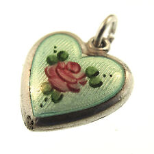 Pink Rose Puffy Heart Charm Blue Guilloche Enamel Sterling Silver Vintage 1940s