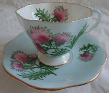 Glengarry Thistle Foley English Bone China Light Turquoise Blue Cup & Saucer