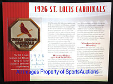 ST LOUIS CARDINALS 1926 WORLD SERIES PATCH Willabee Ward CHAMPIONSHIP COLLECTION