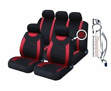CARNABY RED Universal CAR SEAT COVERS PROTECTORS + RUBBER MATS GENUINE FOOT WELL