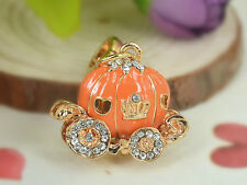 XS012 Orange Pumpkin Car Keyring Pendant Rhinestone Crystal Fob Key Chain Bag