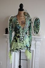 Roberto Cavalli Green & Black Silk Lace Top Size Medium 12