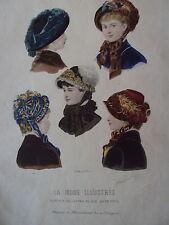 GRAVURE MODE ILLUSTRE 1881 CHAPEAUX DE MME DELOFFRE N° 46