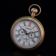 Retro Open Face Copper Material Yellow Gold Tone Sub-Dials Wind Up Pocket Watch