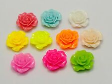20 Mixed Color Rose Flower Flatback Resin Cabochon 20mm DIY NO Hole