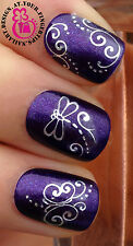 NAIL ART WRAP WATER TRANSFER DECALS SHINEY SILVER SCRIPT SWIRLS & DRAGONFLY #29