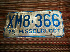 XM8 366 OCT 1975 Missouri License Plate only one