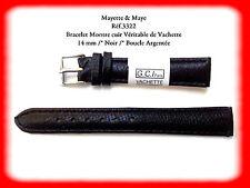 BRACELET MONTRE CUIR VERITABLE NOIR 14mm  REF.3322