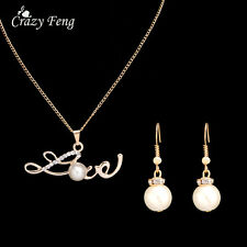 New Vintage Women Pearl Wedding Jewelry Sets Love Pendant Necklace Earring Sets