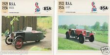 2 FICHES AUTOMOBILE GB CAR B.S.A. 10 HP BEEZA 1921-1936