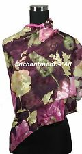 "New Stunning Handmade 60""x20"" 100% Pure Silk Floral Sheer Scarf Shawl Wrap, Wine"