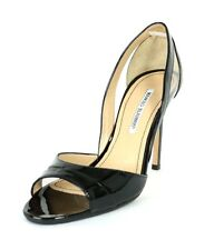 MANOLO BLAHNIK Black Patent Leather & Clear PVC Heels Sandals 39