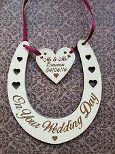 Hand Made personalised engraved horseshoe plaque keep sake gift wedding