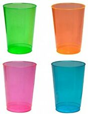 NEON PARTY CUPS ASSORTED PLASTIC BEER DRINKS GLASSES GLOW IN THE DARK BLACKLIGHT
