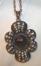 Lovely Flute Petaled Marcasite Flower Marbled Violet Silvertone Pendant Necklace