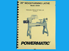 Powermatic  Model 3520A Wood Lathe Operators  & Parts List Manual *253