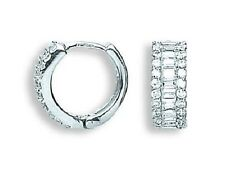 SOLID 9CT HALLMARKED WHITE GOLD BRILLIANT AND BAGUETTE CUT HUGGIE EARRINGS