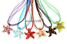 Wholesale 6Pcs StarfIsh talian venetian Murano Glass Pendant Silk Necklace FREE