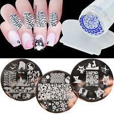 3 Design Set Nail Art Stamping Plates Stainless Steel Clear Stamper Scraper DIY