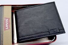 Wallet Levis Bifold Black Soft Leather Slimfold Billfold Gift Box Men NWT