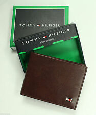 NEW TOMMY HILFIGER GENUINE LEATHER SADDLE BROWN CARDHOLDER SLIM BILLFORD WALLET