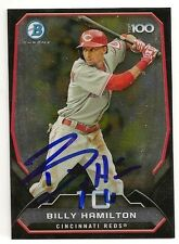 Billy Hamilton Cincinnati Reds 2014 Bowman Top 100 Signed Card