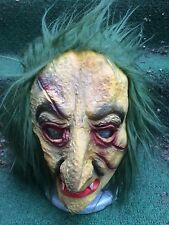 Vintage TOPSTONE latex Halloween Mask Old Vampire Witch Green Face & Hair 1970s