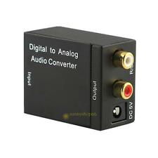 Digital Optical Coaxial Toslink Switch to Analog RCA L/R Audio Converter Adapter