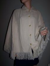 Vtg 60's Acrylic Button Front Tan Beige Fringed Sweater Cape One Size EUC