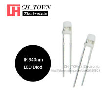100pcs 3mm IR LED Diodes Water Clear Infrared 940nm Blub Transparent Lamp USA