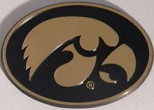 Iowa Hawkeyes Chrome Metal Auto Emblem (Black & Gold Oval) NCAA Licensed