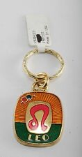 NEW  LEO  ASTROLOGY GOLD PLATED BRASS & ENAMEL KEY CHAIN WITH MEANING USA NWT