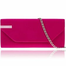 New Stylish Fuchsia Suede Velvet Wedding Ladies Party Evening Clutch Hand Bag