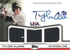 Tyler Alamo 2011 Topps USA Baseball Autograph & Triple Jersey Gold 7/64 Auto