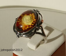 Beautiful Rose Cameo Baltic Amber Ring with Silver 925