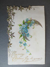 ANTIQUE CHRISTMAS Greetings CARD Moon Forget Me Nots Embossed Cut Edge